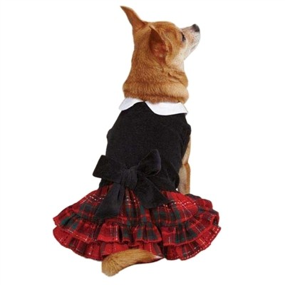 Tartan & Black Velvet Party Dress - MED (B.125) (APPAREL)