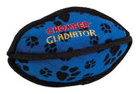 BLUE - Chomper Gladiator Tuff Football Plush Dog Toy - BLUE (B.A7/AM6)