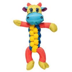 Chomper Twister Squeak and Tug Dog Toy - COW (B.A6)