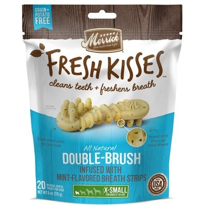 MERRICK Fresh Kisses Mint Breath Strips Extra Small Brush Dental Dog Treats, 20 Count (3/19) (T.SINGLES)