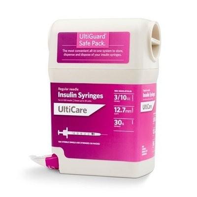 UltiGuard UltiCare U-100 Insulin Syringe 1/2cc, 30g x 1/2