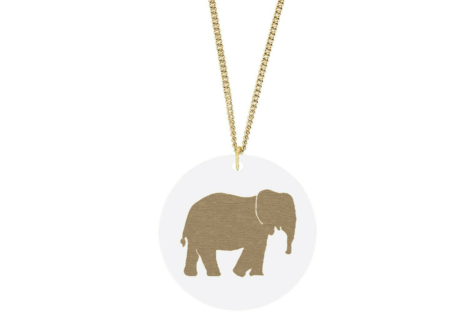 Elephant Pendant Subtle Style Refined with Paint on Chain Necklace
