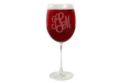 Monogrammed Wine Glass 19 oz