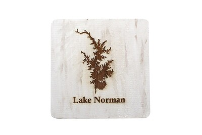 Body of Water w/Name Hand-Painted Wood Coaster Set
