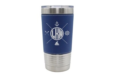Leatherette 20 oz Custom Location with Nautical Themes Insulated Tumbler