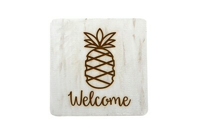 Pineapple w/WELCOME or Custom Word Hand-Painted Wood Coaster Set