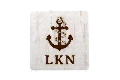 Anchor w/Rope & Custom Location Hand-Painted Wood Coaster Set