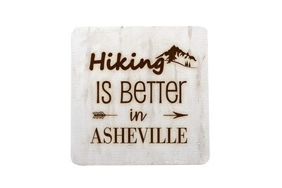 Mountain Hiking Customized with City/Location Hand-Painted Wood Coaster Set