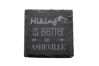 Mountain Hiking Customized with City/Location Slate Coaster Set