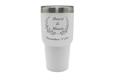 Custom Insulated Tumbler w/Wreath and Names & Dates 30 oz