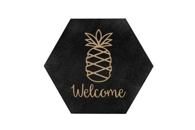 Pineapple w/WELCOME or Custom Word HEX Hand-Painted Wood Coaster Set