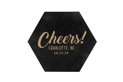Custom Cheers w/City & State & Date HEX Hand-Painted Wood Coaster Set