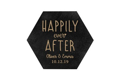 Custom Happily Ever After HEX Hand-Painted Wood Coaster Set