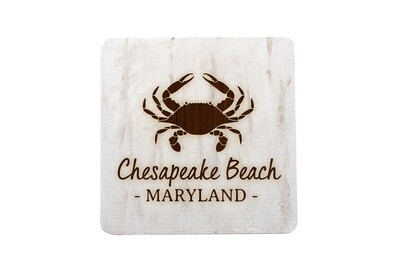 Crab & Customized Location Hand-Painted Wood Coaster Set