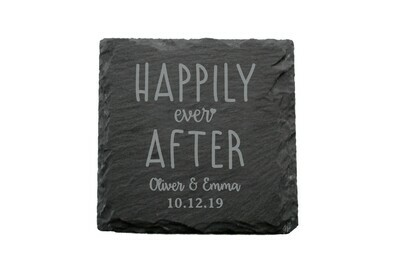 Custom Happily Ever After Slate Coaster Set