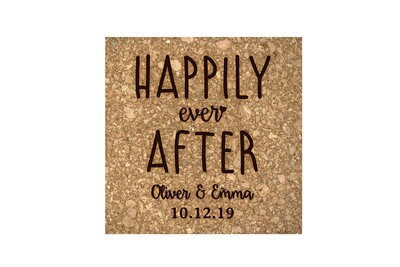 Custom Happily Ever After Cork Coaster Set