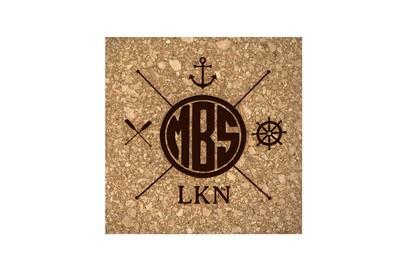Monogram w/Nautical Themes Cork Coaster Set