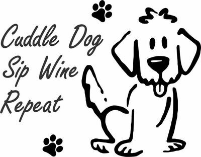 Cuddle Dog, Sip Wine, Repeat Slate Serving Tray