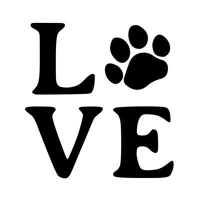 LOVE with Dog or Cat Paw Print Slate Serving Tray