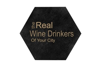 The Real Wine Drinkers of (Add Your Custom Location) HEX Hand-Painted Wood Coaster Set