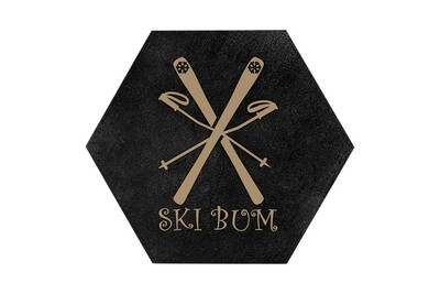 Ski Bum HEX Hand-Painted Wood Coaster Set