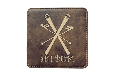 Ski Bum Leatherette Coaster Set
