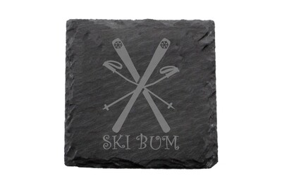 Ski Bum Slate Coaster Set