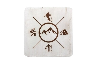 Skier with Outdoor Theme Hand-Painted Wood Coaster Set