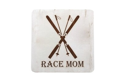 Race Mom Hand-Painted Wood Coaster Set