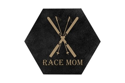 Race Mom HEX Hand-Painted Wood Coaster Set