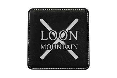 Skis with Custom Location Leatherette Coaster Set