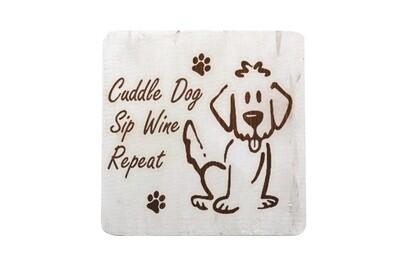 Cuddle Dog, Sip Wine, Repeat on Hand-Painted Wood Coaster Set