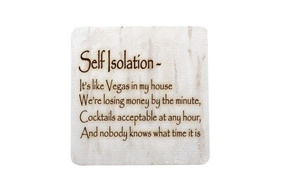 Self Isolation Witty Saying Hand-Painted Wood Coaster Set