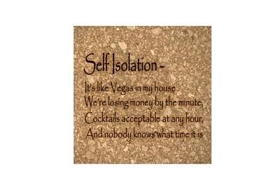 Self Isolation Witty Saying Cork Coaster Set