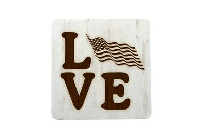 Love with Flag Hand-Painted Wood Coaster Set