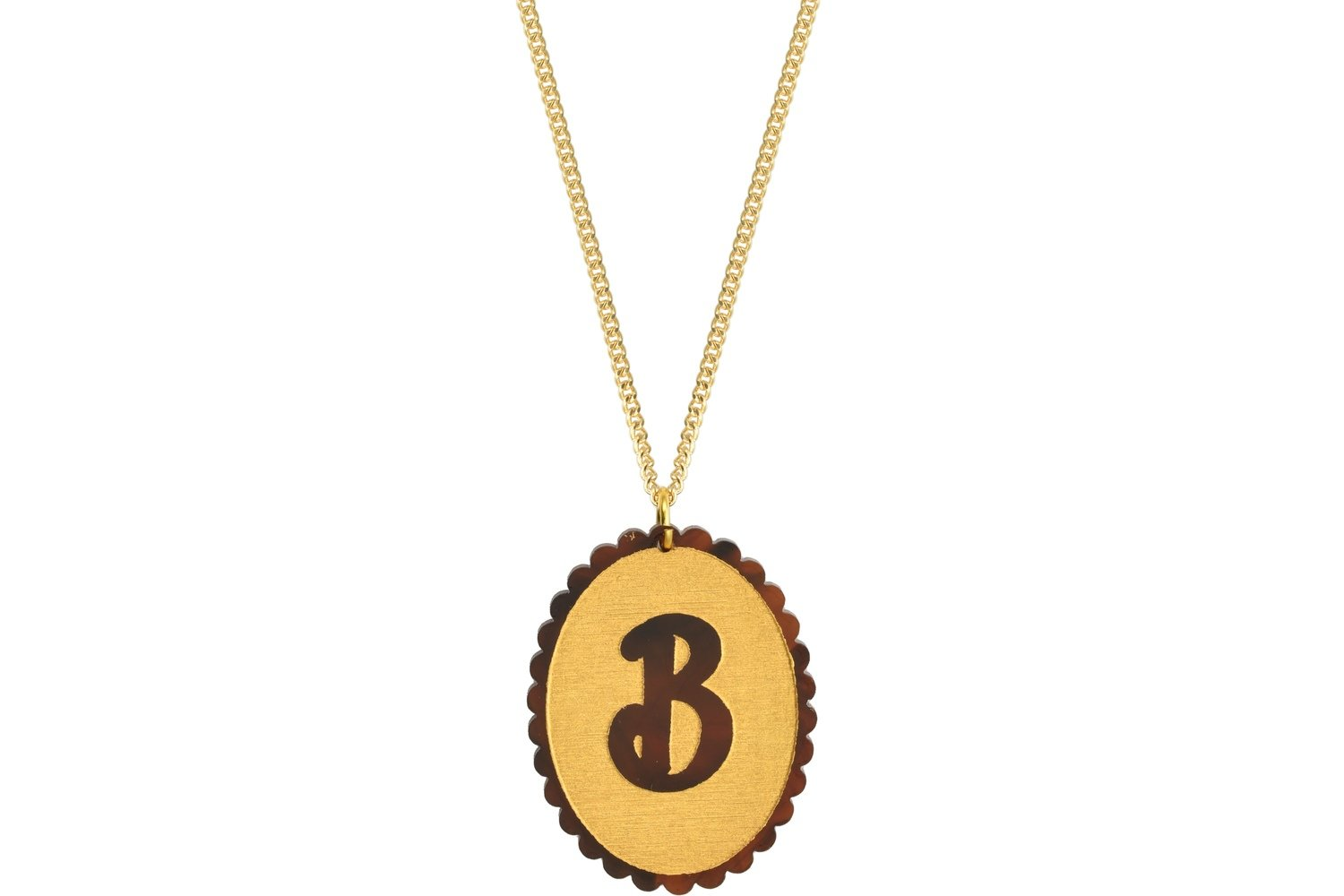 Scallop Initial Pendant with Chain Necklace