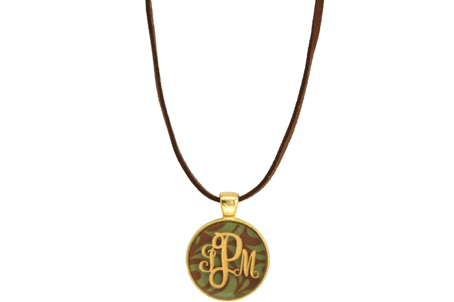 Classic Style Bezel Monogram Pendant with Suede Leather Cord Necklace