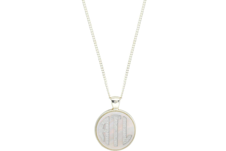 Classic Style Bezel Monogram Pendant with Chain Necklace