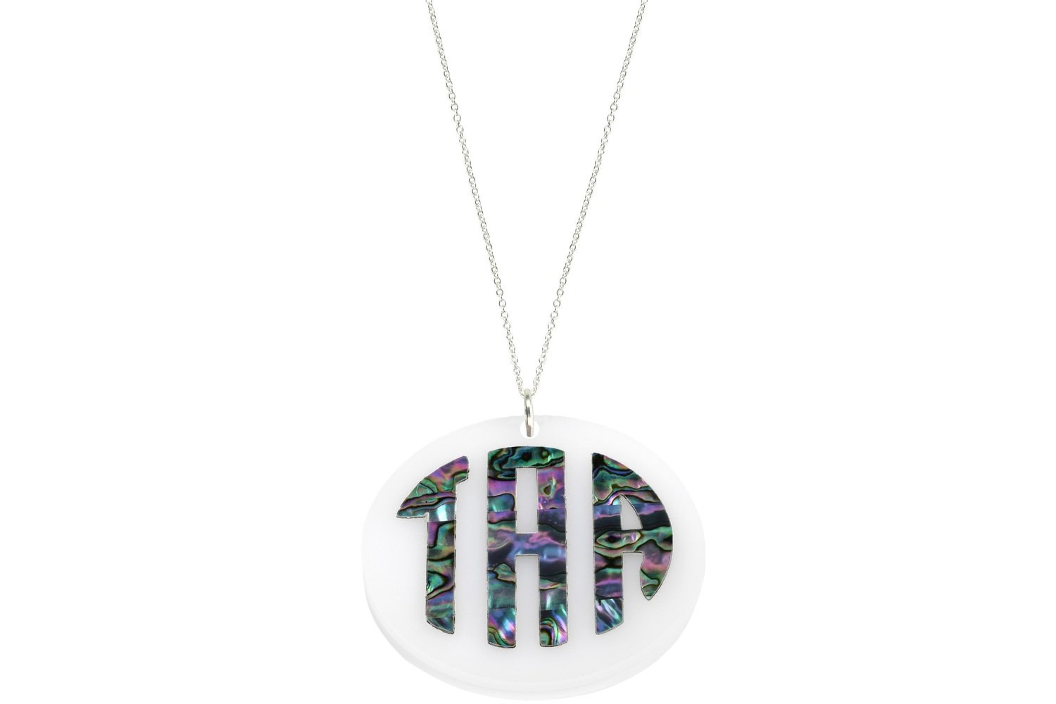 Mother of Pearl Monogram Pendant with Chain Necklace