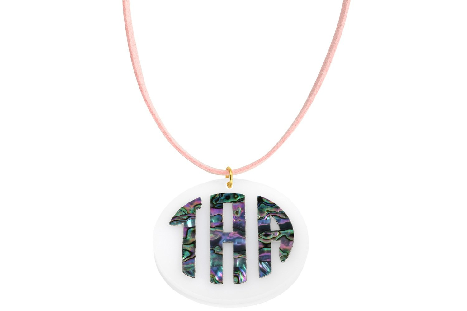 Mother of Pearl Monogram Pendant with Suede Leather Cord Necklace