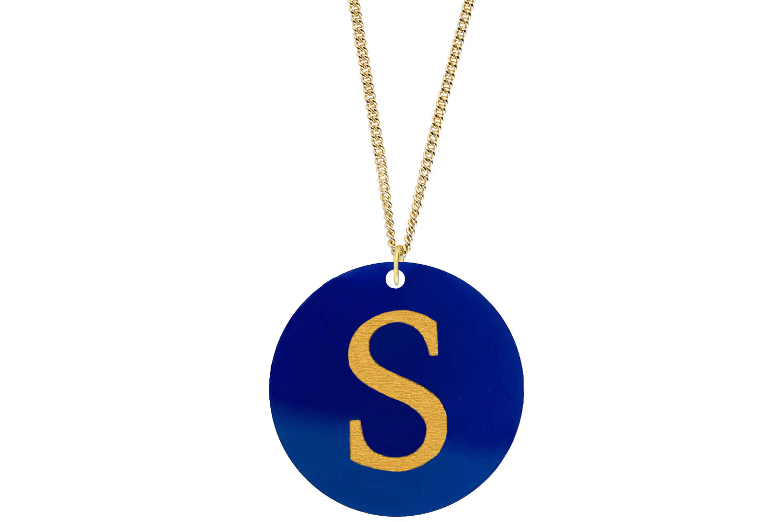 Alphabet Pendant Subtle Style Refined with Paint on Chain Necklace