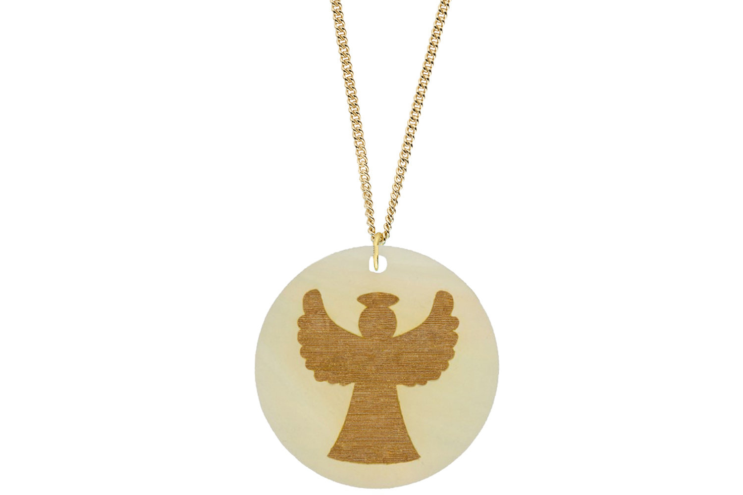 Angel Pendant Subtle Style Refined with Paint on Chain Necklace