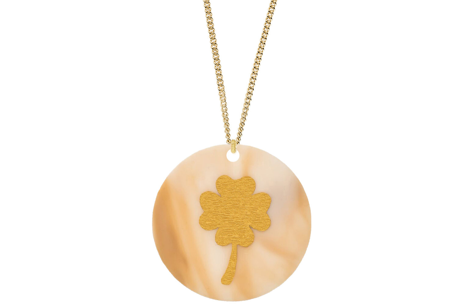 Clover Pendant Subtle Style Refined with Paint on Chain Necklace