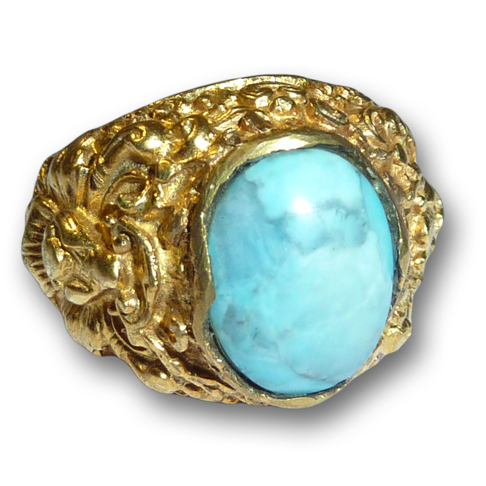 Balinese Gold-plated Silver Ring with Stefilia's Stone