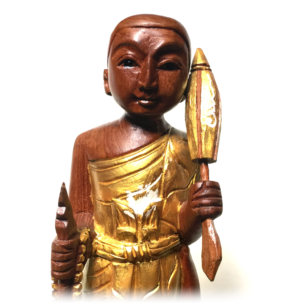 Phra sivali bucha statue hand carved from holy teak wood
