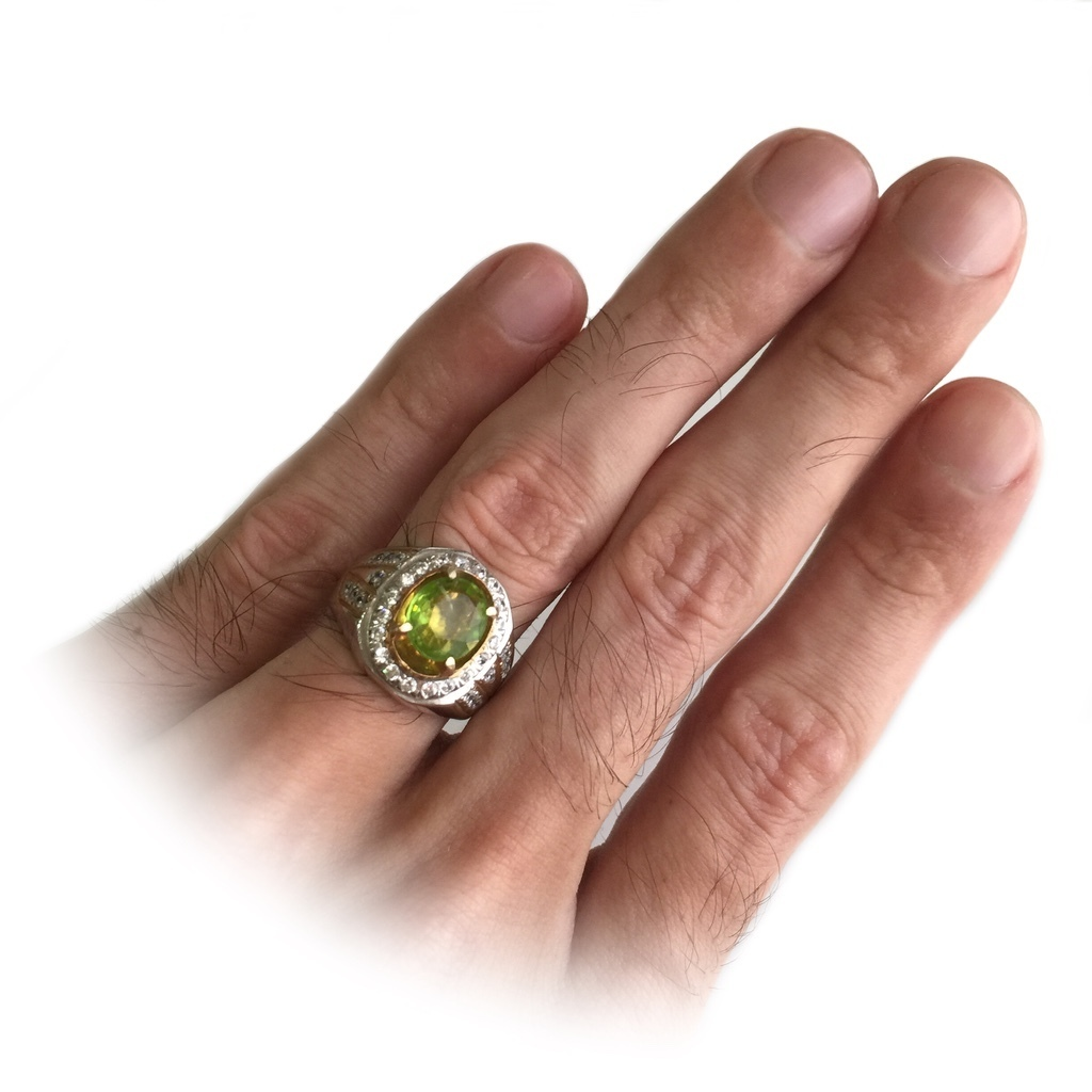 Peridot Gem with Zircon Stones