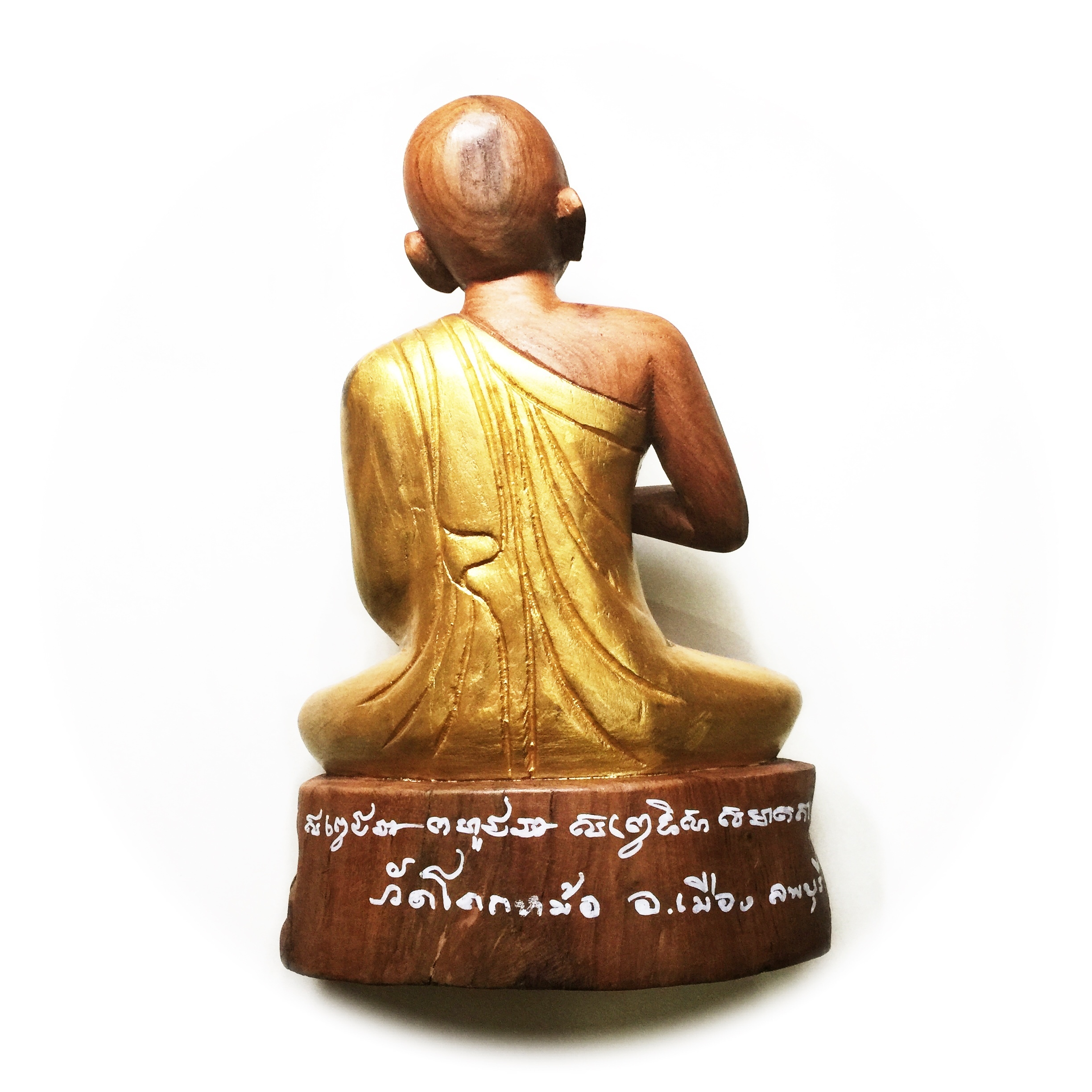 Phra Upakut Statue with Hand Inscriptions in Sacred Khom Script