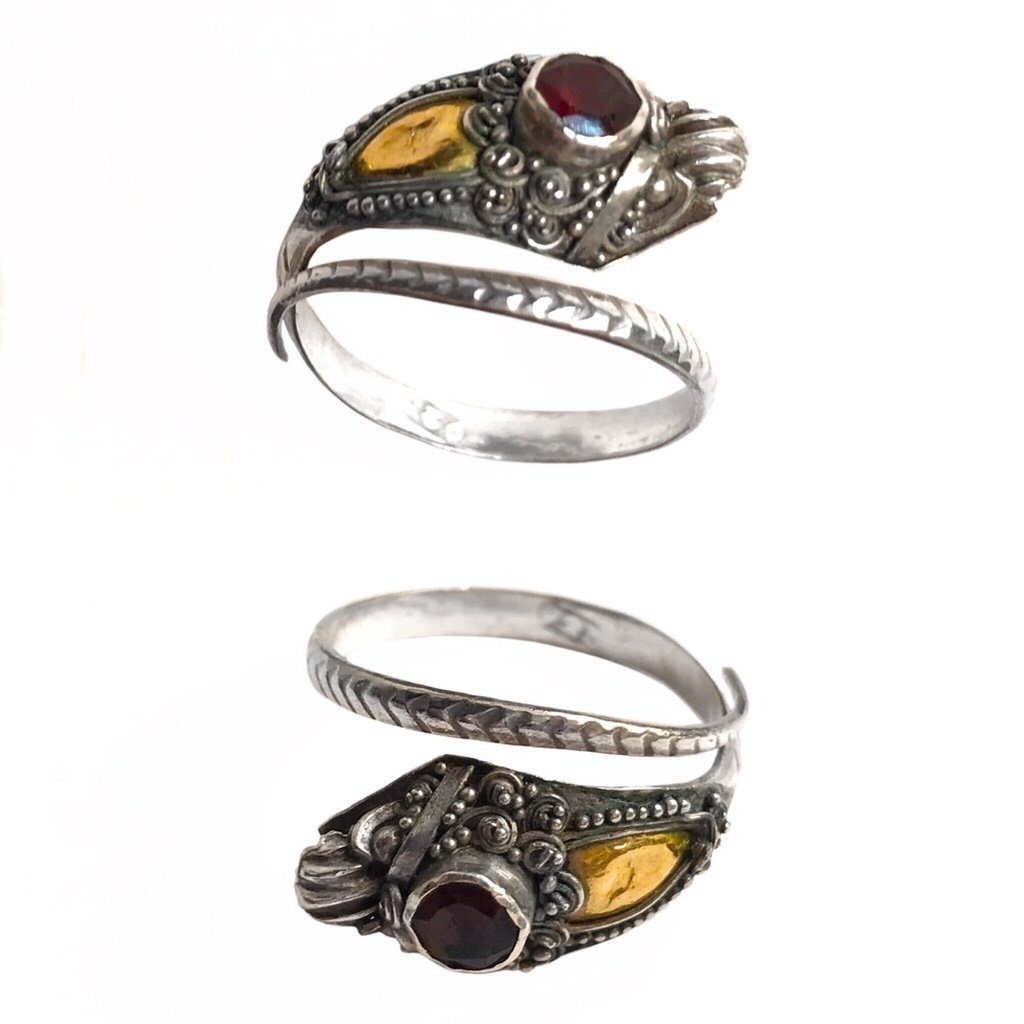 Balinese Silver Nāga Snake Ring with Gold-Plated Hood and Red Ruby Crown