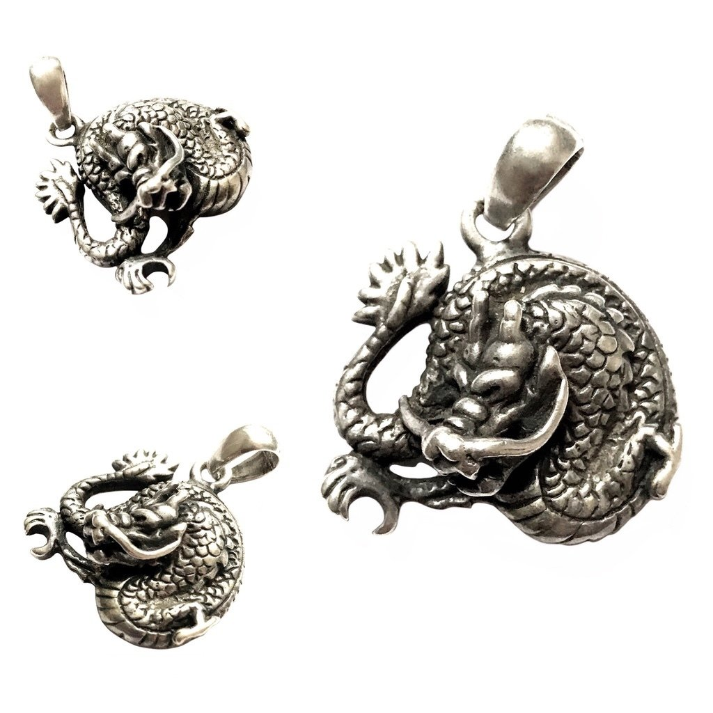 Silver Nāga Dragon Pendant for Excessive Wealth through Business and Gambling