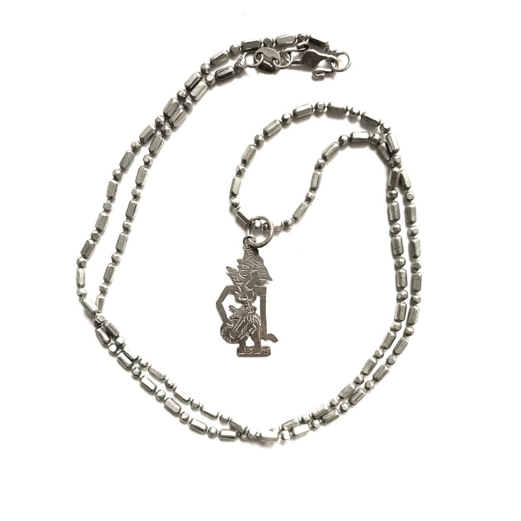 Silver Kresna Wayang Shadow Puppet Pendant and Necklace endowed with Virtuous Qualities of Love and Kindness
